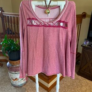 Free People Striped Lace-Me-Up Thermal Top